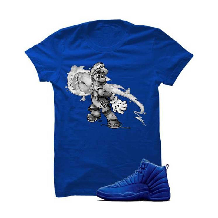 Jordan 12 Blue Suede Royal Blue T Shirt (Luigi Ball)