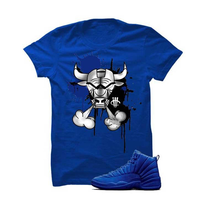 Jordan 12 Blue Suede Royal Blue T Shirt (Iron Bull)