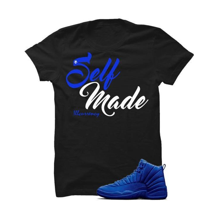 Jordan 12 Blue Suede Black T Shirt (Self Made)