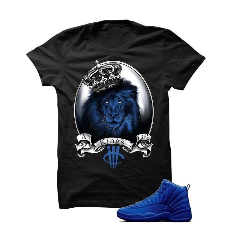 Jordan 12 Blue Suede Black T Shirt (Lion)
