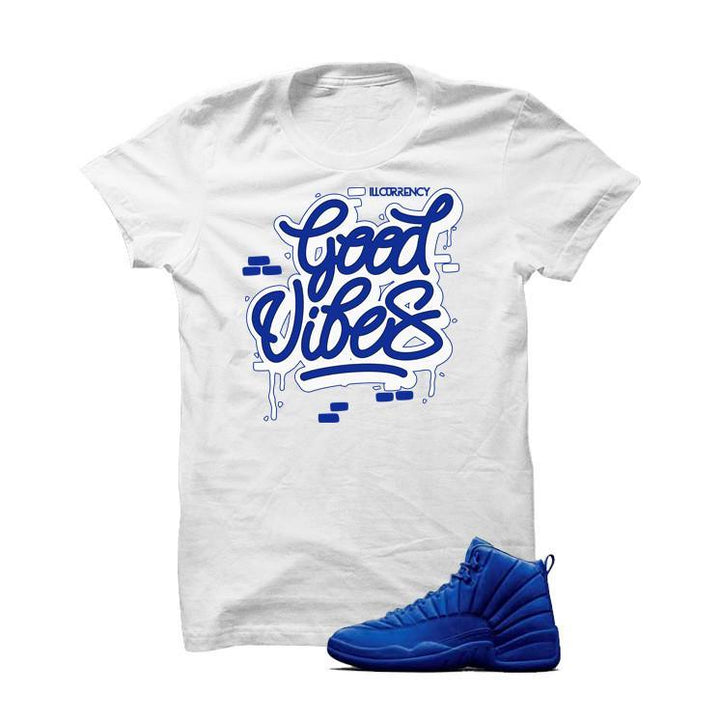 Jordan 12 Blue Suede White T Shirt (Good Vibes)