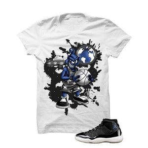 Jordan 11 Space Jam White T Shirt (Basketball Alien)