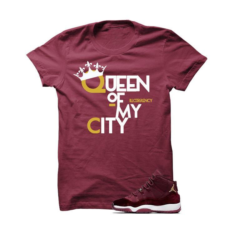 Jordan 11 Velvet Maroon Night Burgundy T Shirt (Queen Of My City)
