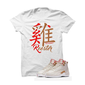 Jordan 12 CNY Gs Chinese New Year White T Shirt (Year Of The Rooster)