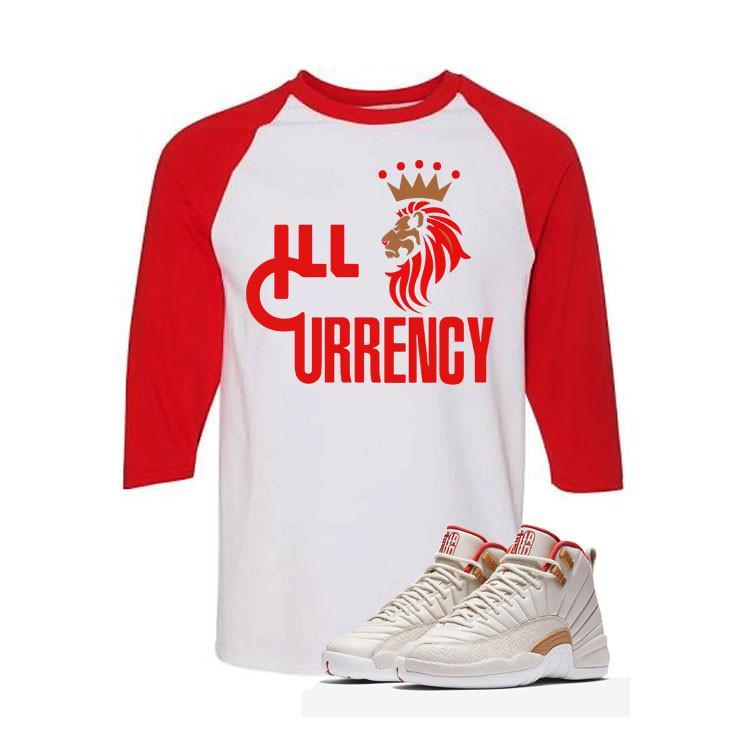 Jordan 12 CNY Gs Chinese New Year White And Red Baseball T's (Lion Currency)
