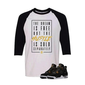 Jordan 4 Royalty White And Black Baseball T's (Dream Is Free)