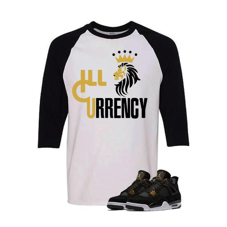 Jordan 4 Royalty White And Black Baseball T's (Lion Currency)