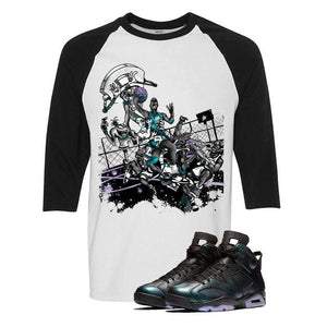 Jordan 6 All-Star White And Black Baseball T's (Alien Attack)