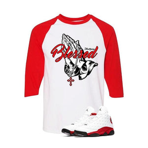 Jordan 13 Chicago White And Red Baseball T's (Blessed)