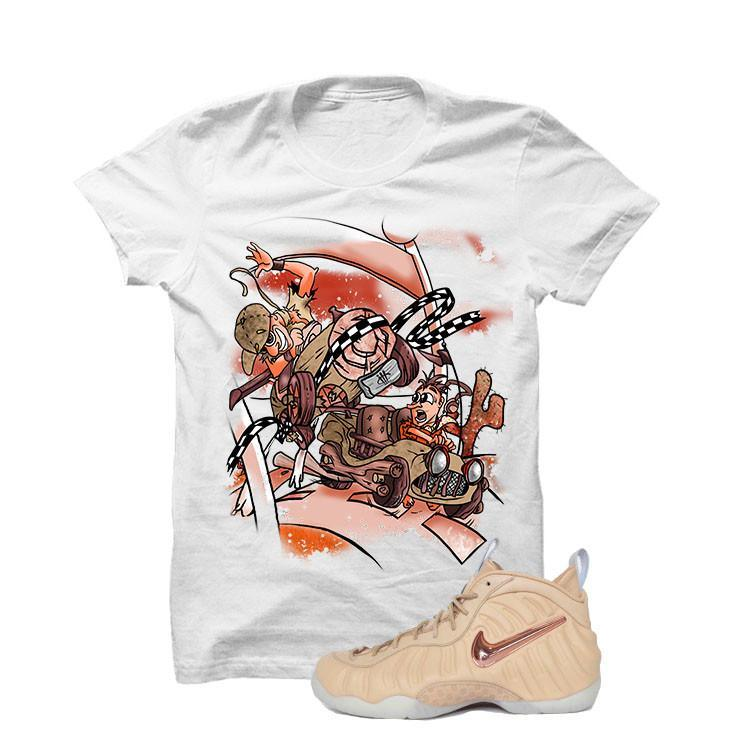 Foamposite Pro Vachetta Tan White T Shirt (Stone Rock)
