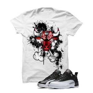 Jordan 12 Low Playoff White T Shirt (Iron Bull)
