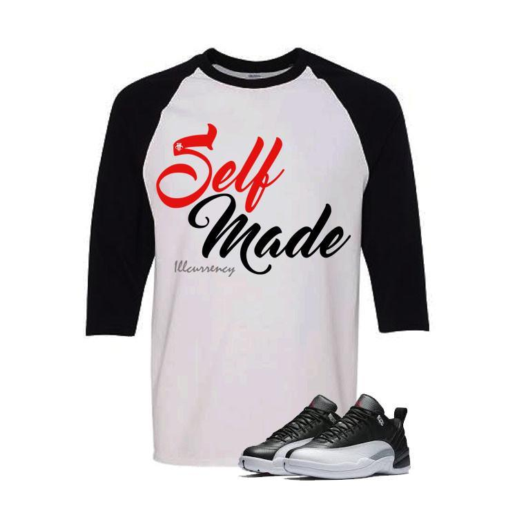 Jordan 12 Low Playoff White And Black Baseball T's (Self Made)