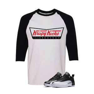 Jordan 12 Low Playoff White And Black Baseball T's (Krispy Kicks)
