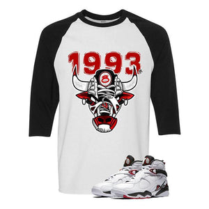 Jordan 8 Alternate White And Black Baseball T's (1993 Bulls)