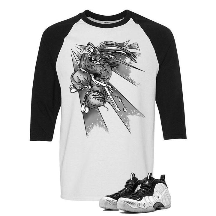 Foamposite Pro Silver Surfer White And Black Baseball T's (Bugs)