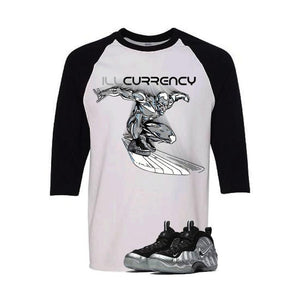 Foamposite Pro Silver Surfer White And Black Baseball T's (Surfer Dude)