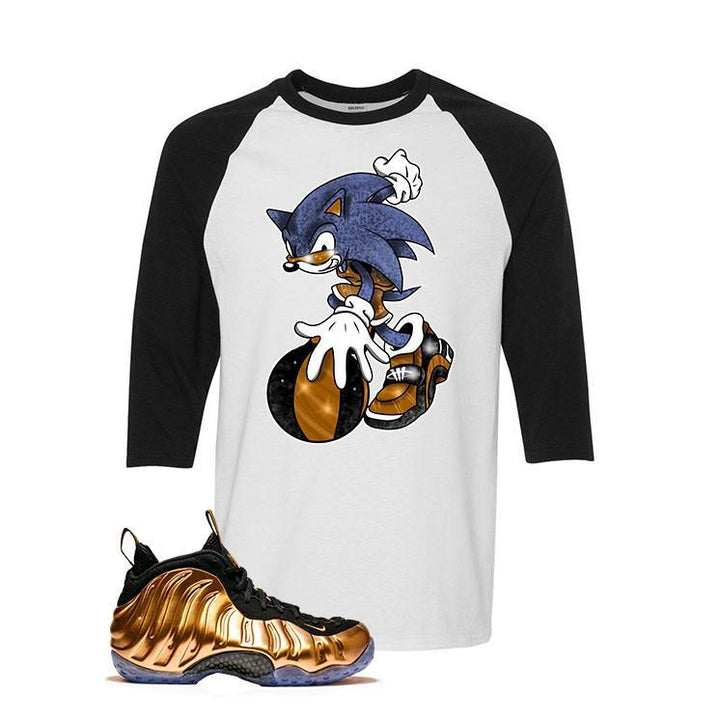 Foamposite One Copper White And Black Baseball T's (Sonic)