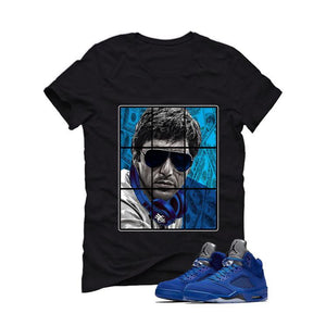 Air Jordan 5 Blue Suede black T (Pacino)