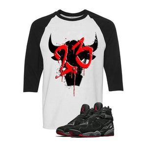 Air Jordan 8 Cement Bred White & Black Baseball T (SHADOW BULL)