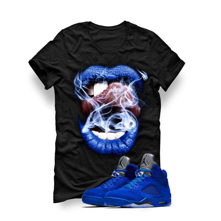 Air Jordan 5 Blue Suede Black T (Smoke N Lips)