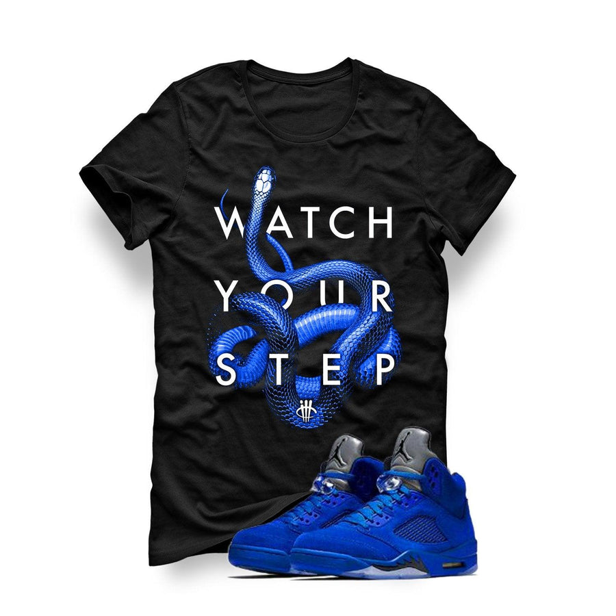 Air Jordan 5 Blue Suede Black T (Watch Your Step)