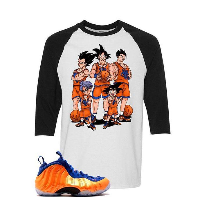 Foamposite one NY Knicks White And Black Baseball T's (Z Team)
