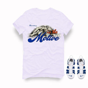 Nike Air More Uptempo Knicks White T Shirt (Money is the motive)