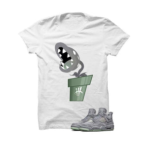 Kaws X Jordan 4 Grey Suede White T Shirt (Piranha)