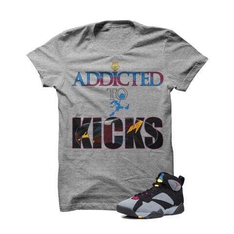 Addicted To Kicks Bordeaux 7s Grey T Shirt