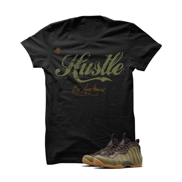 Hustle By Any Means Olive Foams Black T Shirt
