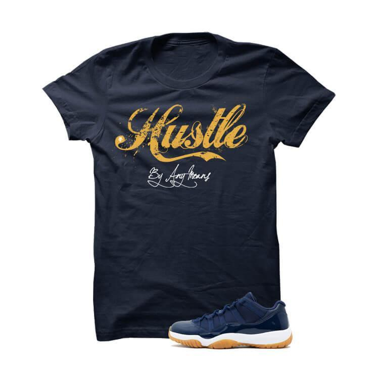 Jordan 11 Low Midnight Navy Gum Navy Blue T Shirt (Hustle By Any Means)