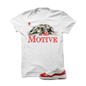 Jordan 11 Low Varsity Red White T Shirt (Money Is The Motive)