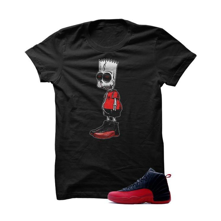 Jordan 12 Flu Game Black T Shirt (Zombie Bart)