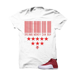 Jordan 12 Gym Red White T Shirt (Dreams Money Can Buy)