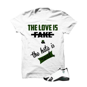 Jordan 14 Oxidized Green White T Shirt (Love Is Fake)