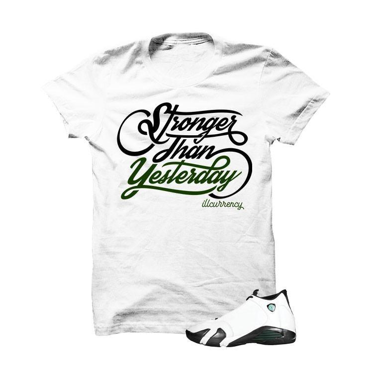 Jordan 14 Oxidized Green White T Shirt (Stronger)