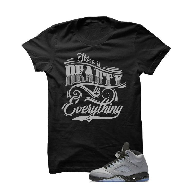 Jordan 5 Wolf Grey Black T Shirt (Beauty)