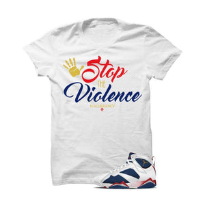 Jordan 7 Tinker Alternate Olympic White T Shirt (Stop The Violence)