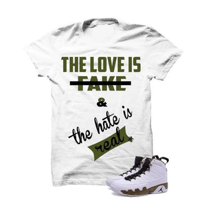 The Love Is Fake Militia Green White T Shirt