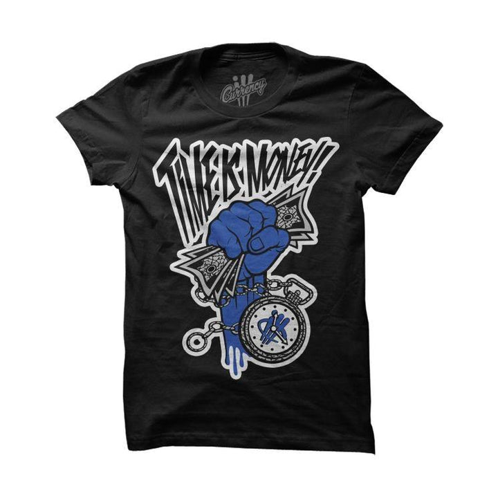 Time Is Money Blue Black Tee