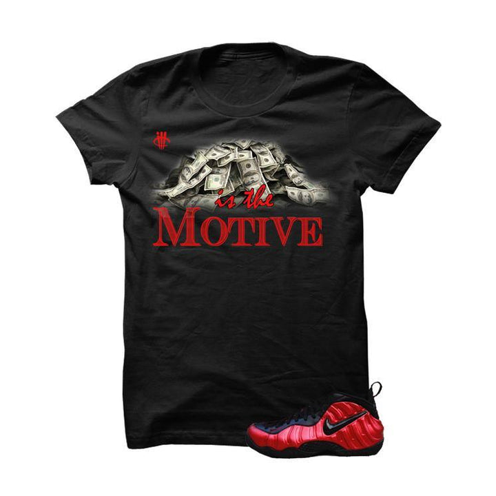 University Red Foams  Black T Shirt (Money Is The Motive)