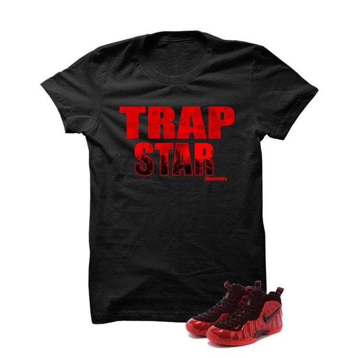 University Red Foams  Black T Shirt (Trap Star)