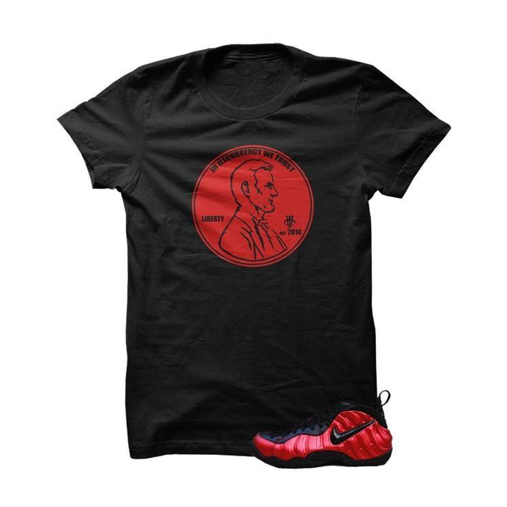 University Red Foams  Black T Shirt (We Trust)