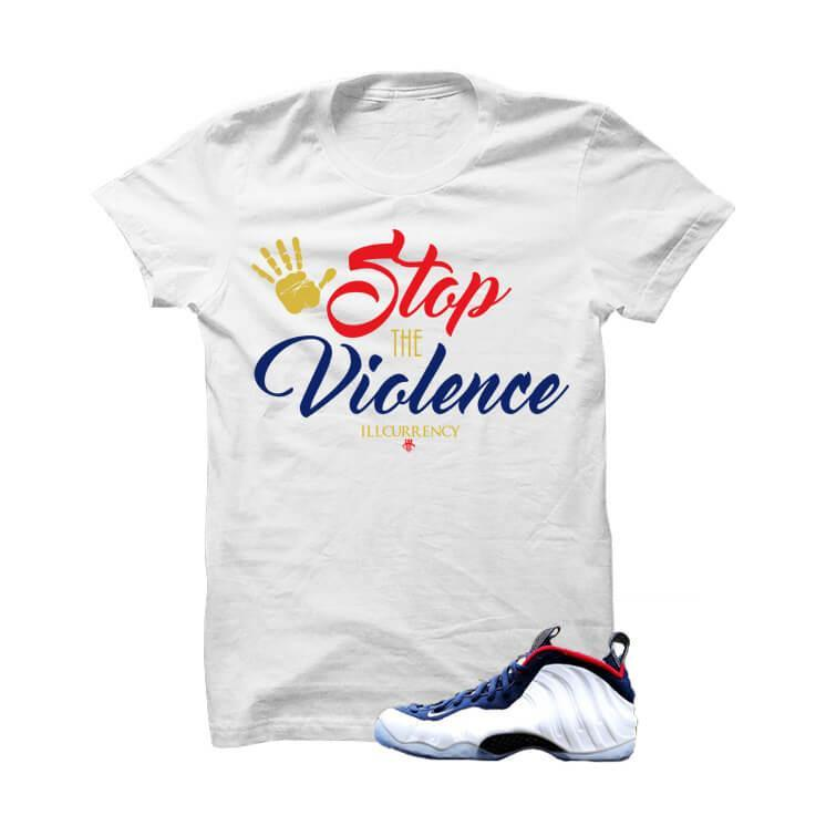 USA Foamposite One White T Shirt (Stop The Violence)