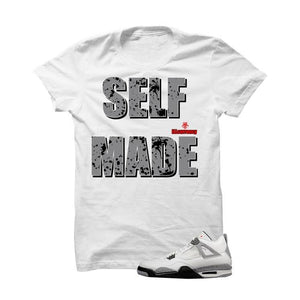 White Cement Jordan 4 OG White T Shirt (Self Made)