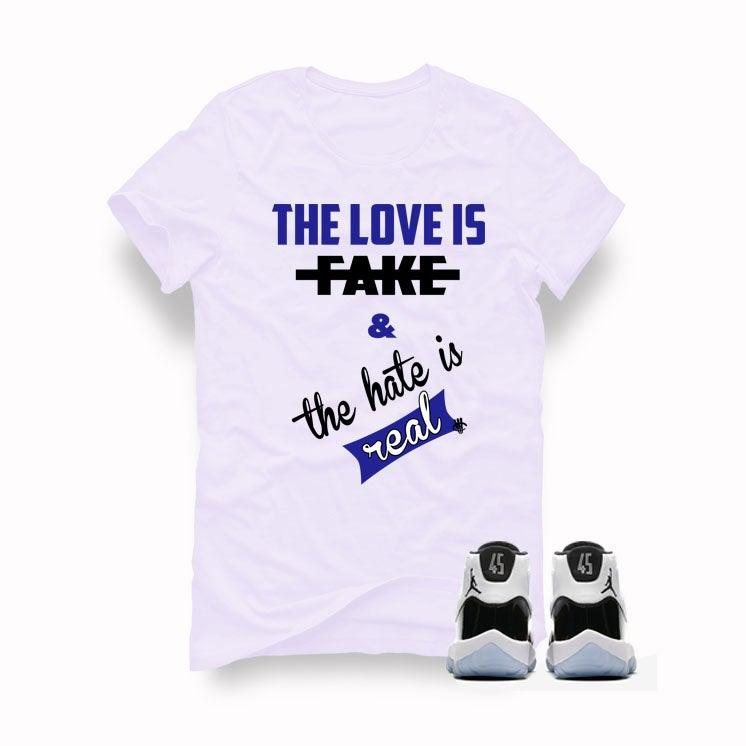 the latest fcb44 72722 Air Jordan 11 Concord 2018 White T (The Love Is Fake)