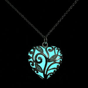 Heart Glowing Stone Pendant Necklace