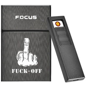 Fxxk OFF Cigarette Box with Removable USB Electric Lighter