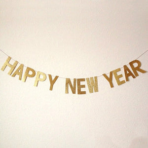 happy new year glitter banner