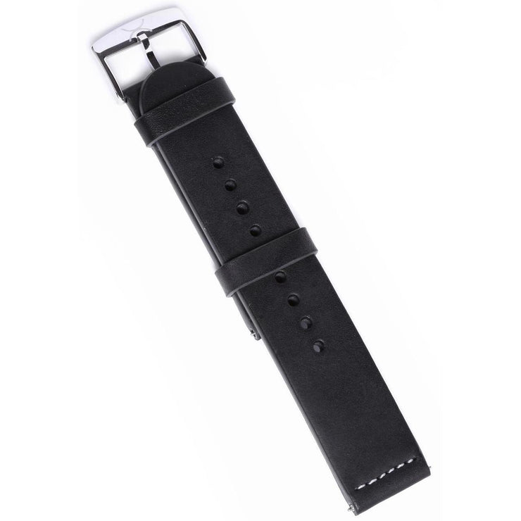 Xeric 22mm Smooth Black Leather Strap with Navy Backing